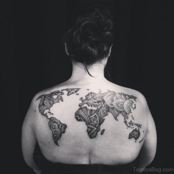 Amazing Map Tattoo On Upperback