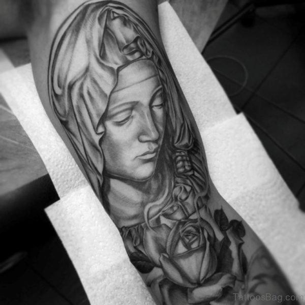 Amazing Mary Shoulder Tattoo Design