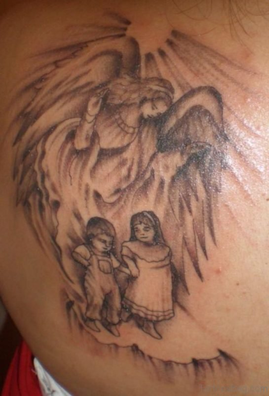 Amazing Memorial Angel Tattoo On Back