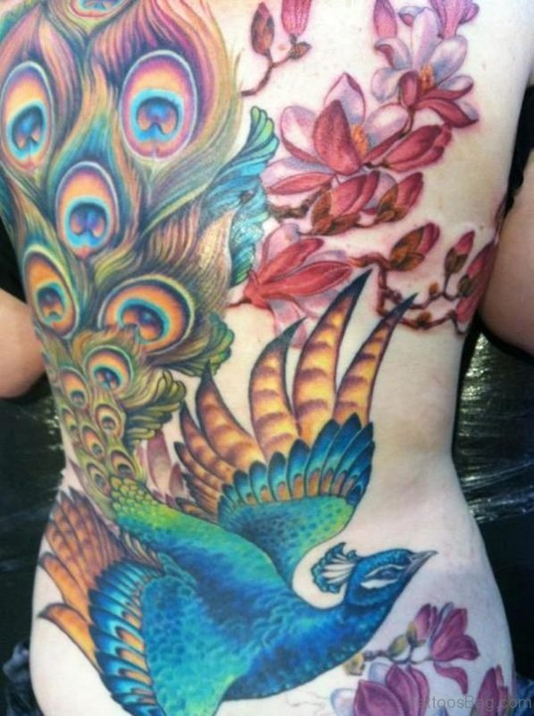 Amazing Peacock And Cherry Blossom Tattoo