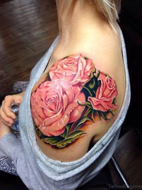 Amazing Pink Rose Shoulder Tattoo Design