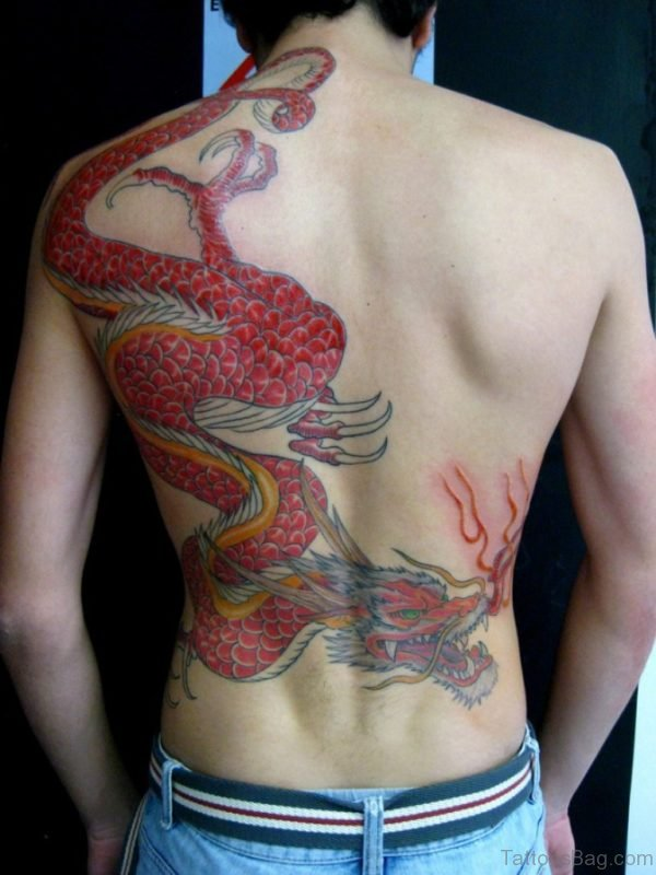 Amazing Red  Dragon Tattoo