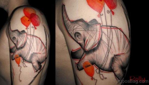 Amazing Red Elephant Tattoo On Shoulder