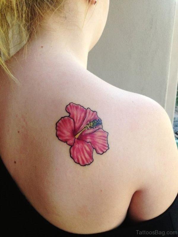 Amazing Red Hibiscus Flower Tattoo