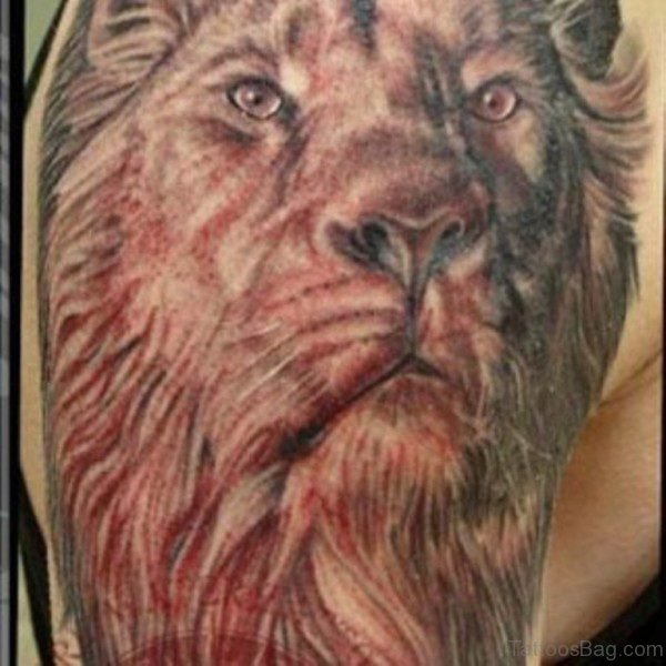 Amazing Red Lion Tattoo
