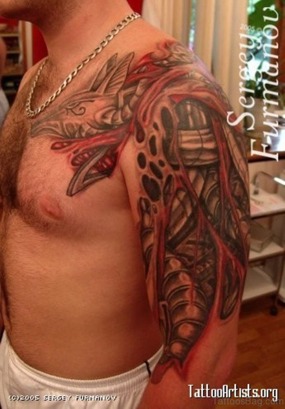 Amazing Red Rip Skin Tattoo