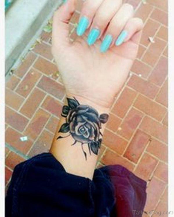 Amazing Rose Tattoo On Wrist