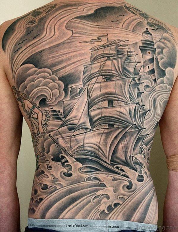 Amazing Ship Tattoo On Back