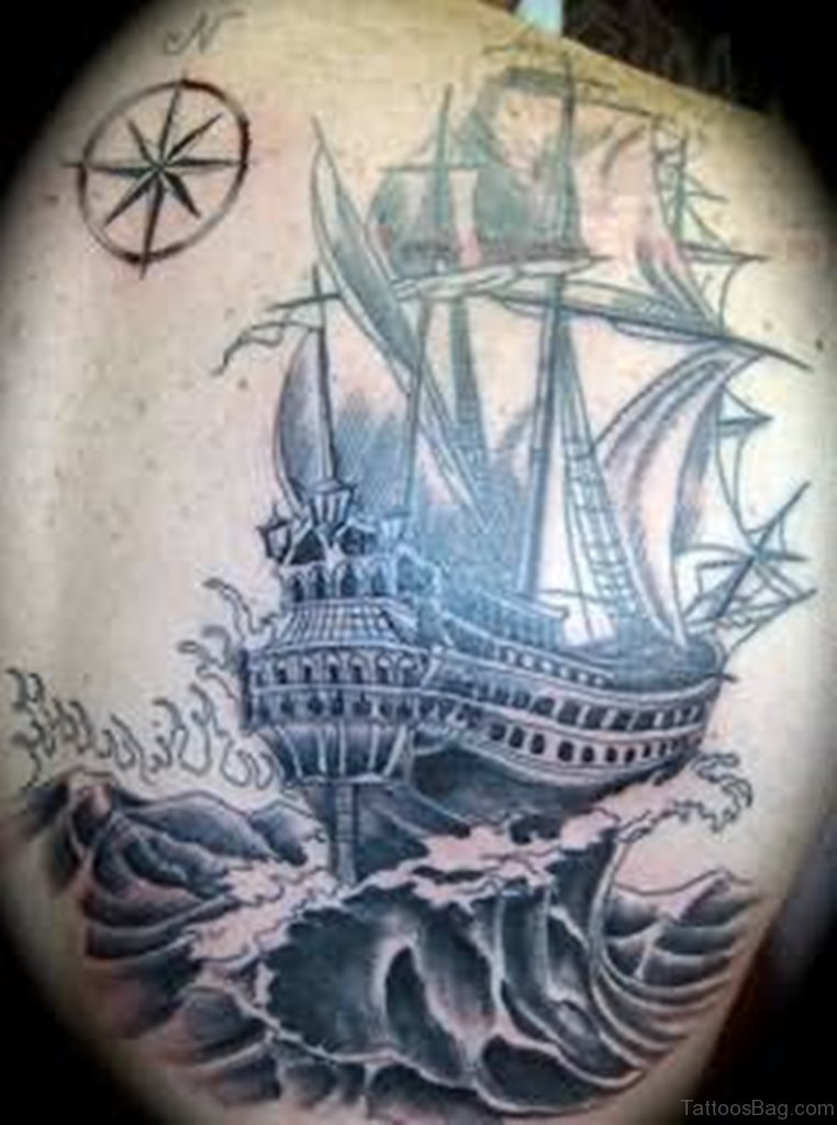 51 classic ship tattoos on back. Black Bedroom Furniture Sets. Home Design Ideas