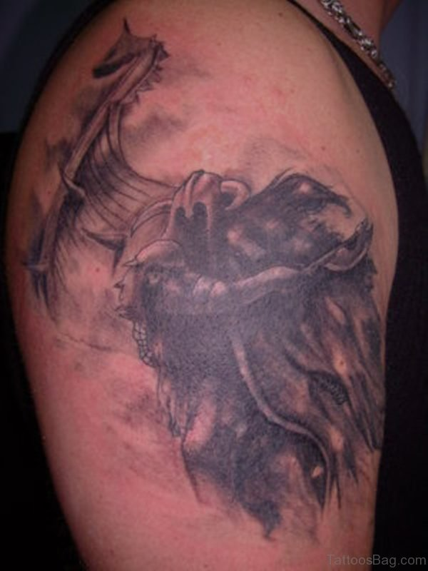 Amazing Shoulder Viking Tattoo