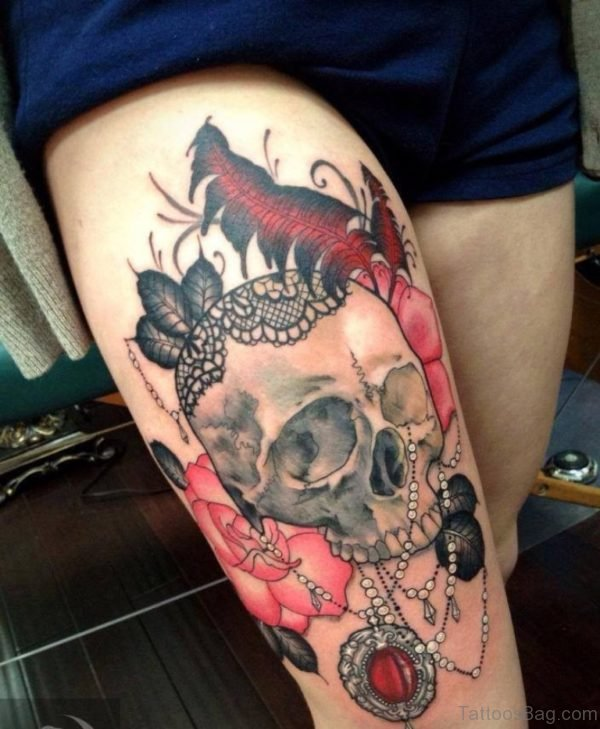 Amazing Skull With Pink Rose And Feather Tattoo