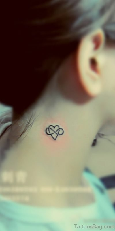 Amazing Small Heart Tattoo On Neck