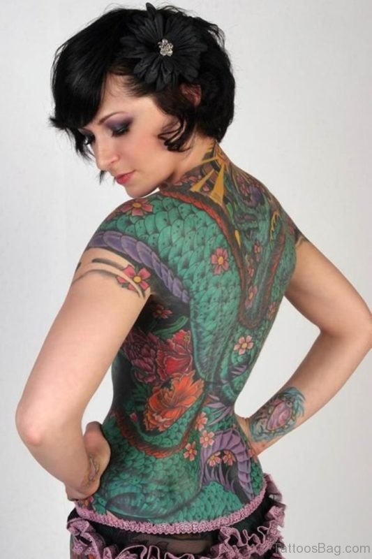 Amazing Woman Full Back Tattoo
