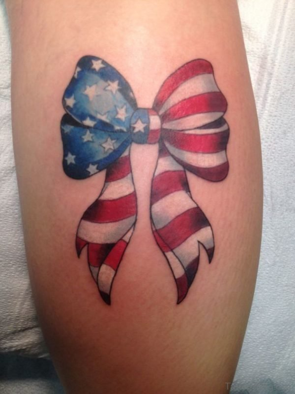 American Flag And Bow Tattoo