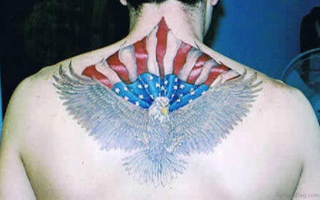 59 nice patriotic tattoo designs on back for American flag eagle tattoo