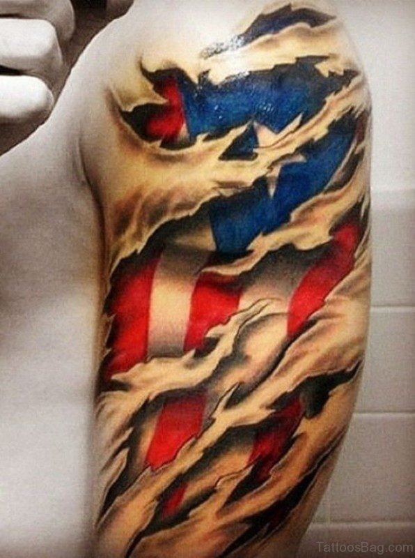 American Flag Ripped Skin Tattoo