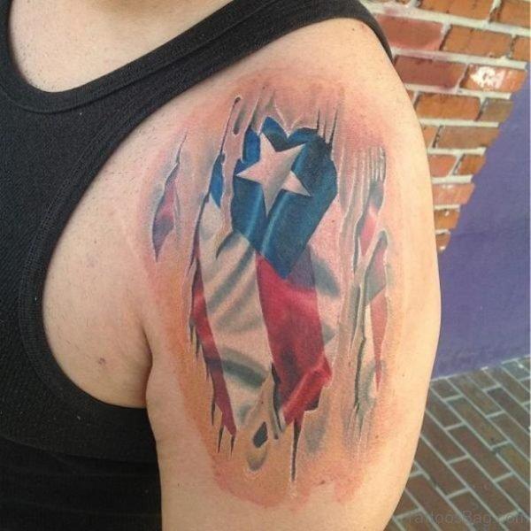 American Flag Tattoo Design On Shoulder