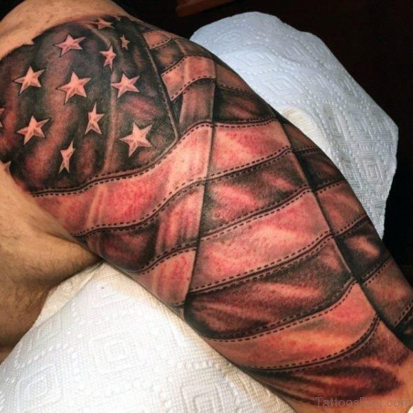 American Flag Tattoo On Half Sleeve