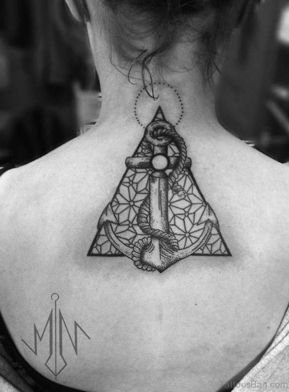 Geometric Anchor Back Tattoo