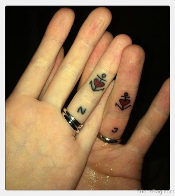 Anchor And Heart Tattoos On Finger