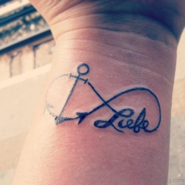 Anchor And Love Word Tattoo