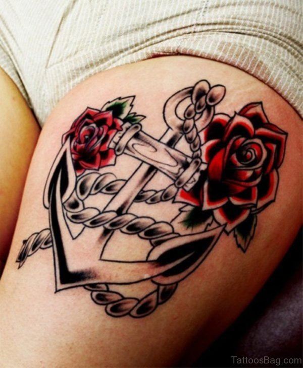Anchor And Rose Thigh Tattoo