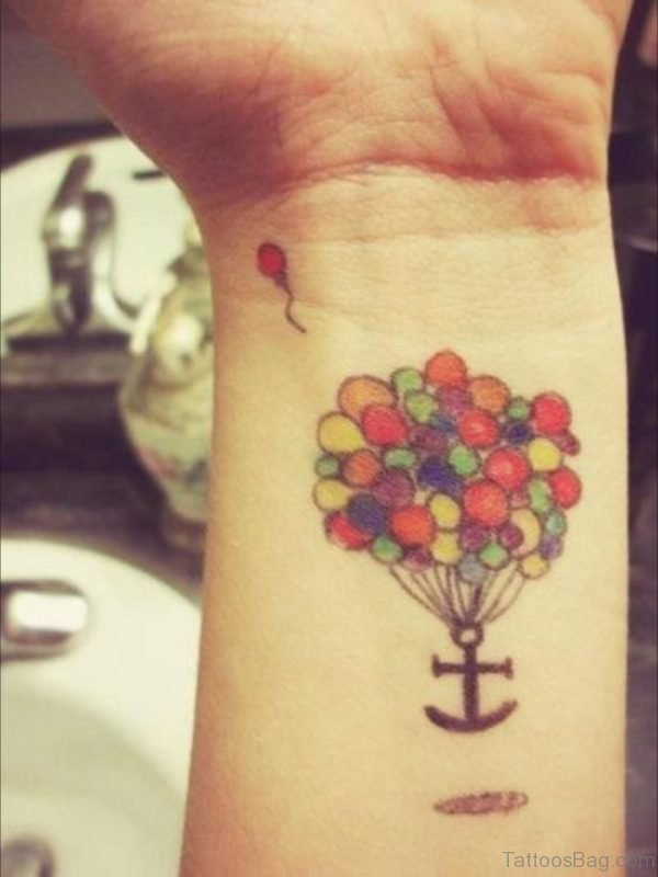 Anchor With Balloons Wrist Tattoo