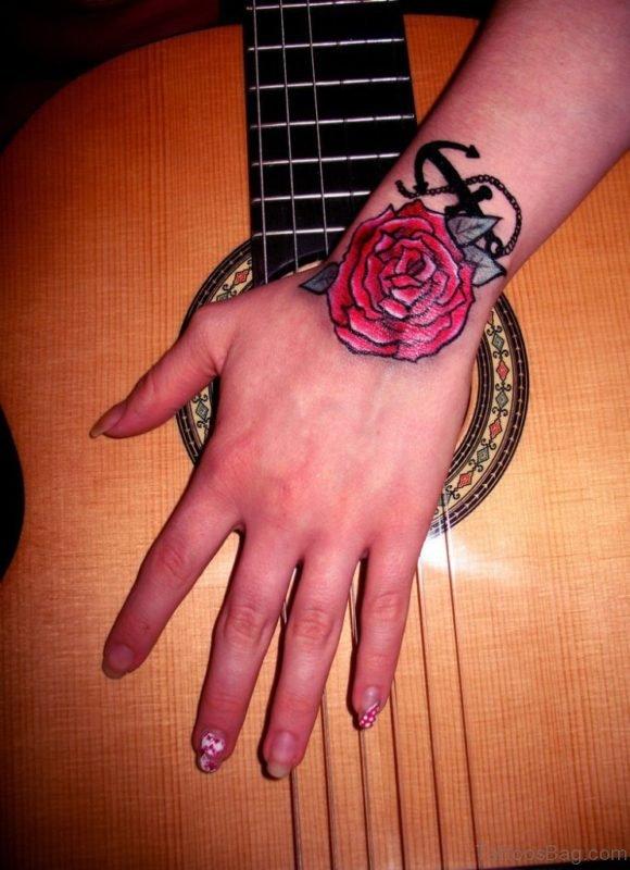 Anchor n Rose Tattoo On Wrist