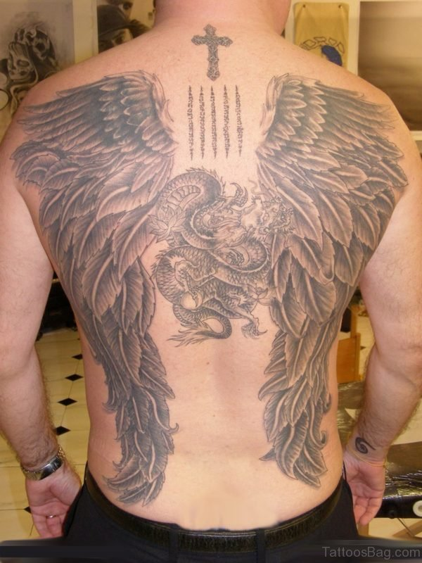 Angel And Cross Tattoo