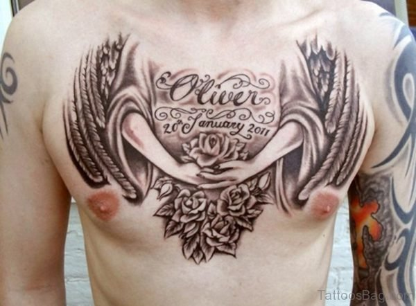 Angel And Flower Chest Tattoo Design For Men