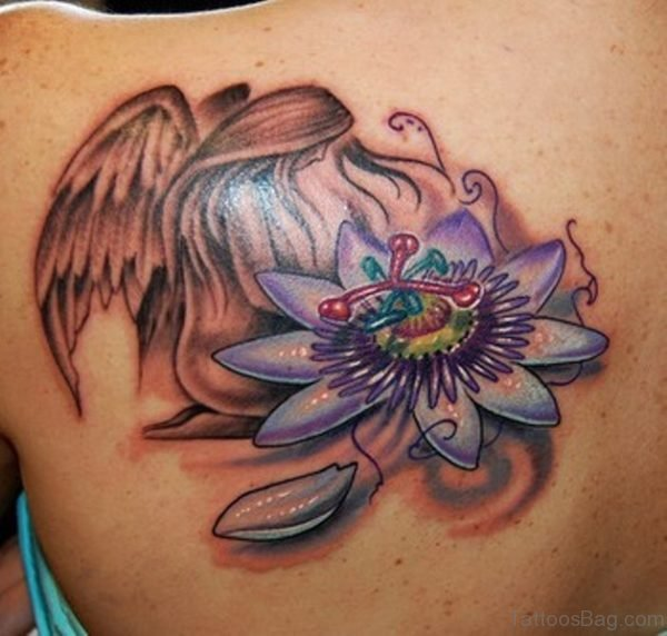 Angel And Flower Tattoo