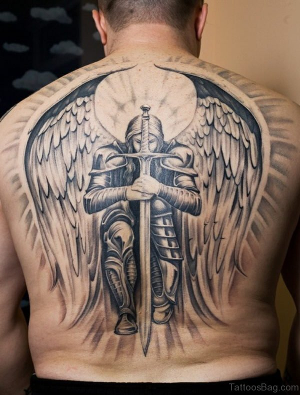 Angel And Sword Tattoo On Full Back