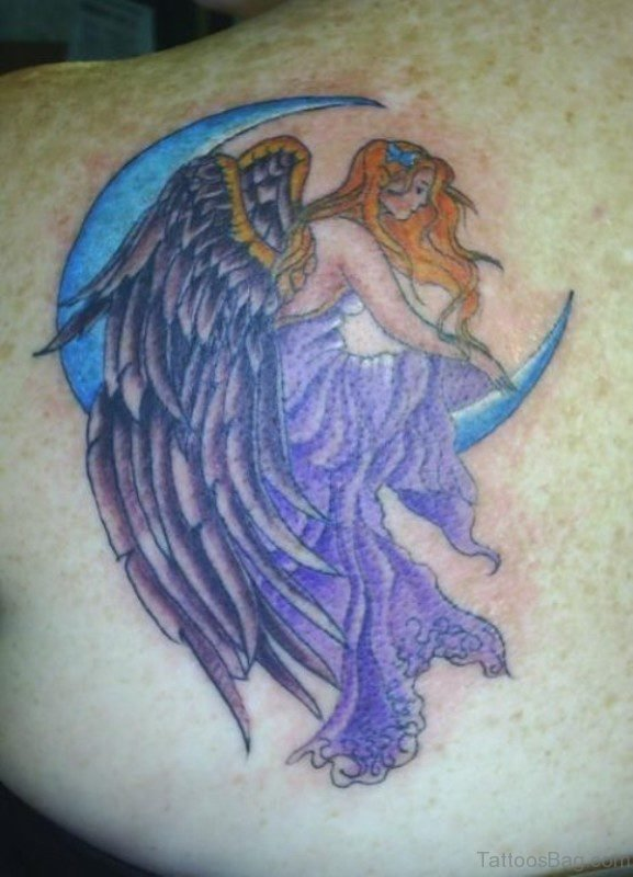 Angel Sitting On Moon Tattoo