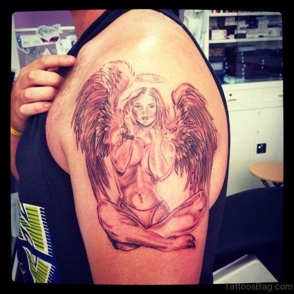 Angel Tattoo Design On Left Shoulder