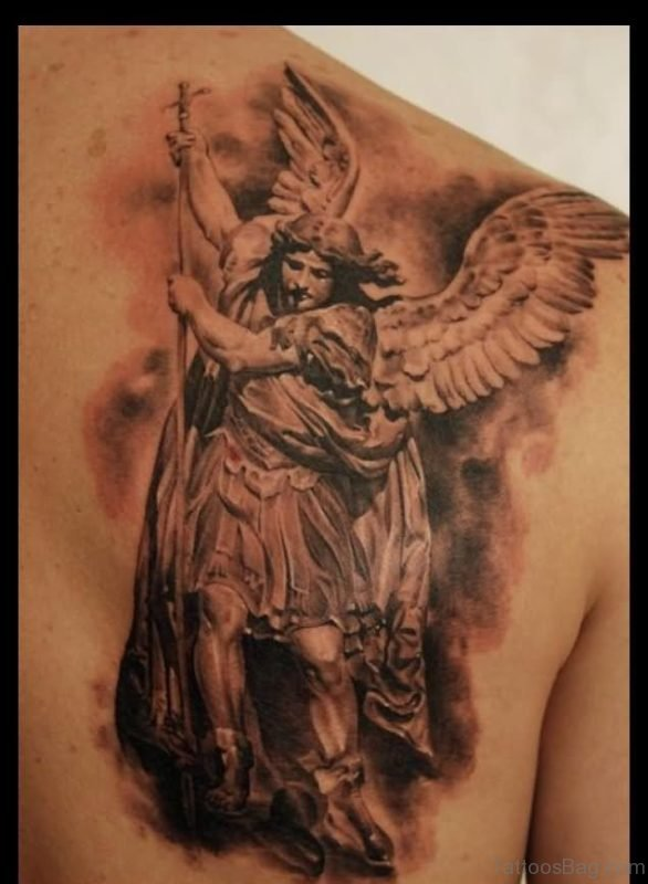 Angel Tattoo On Back Shoulder