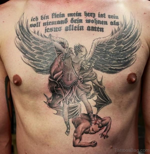 Angel Vs Evil Tattoo Design On Chest
