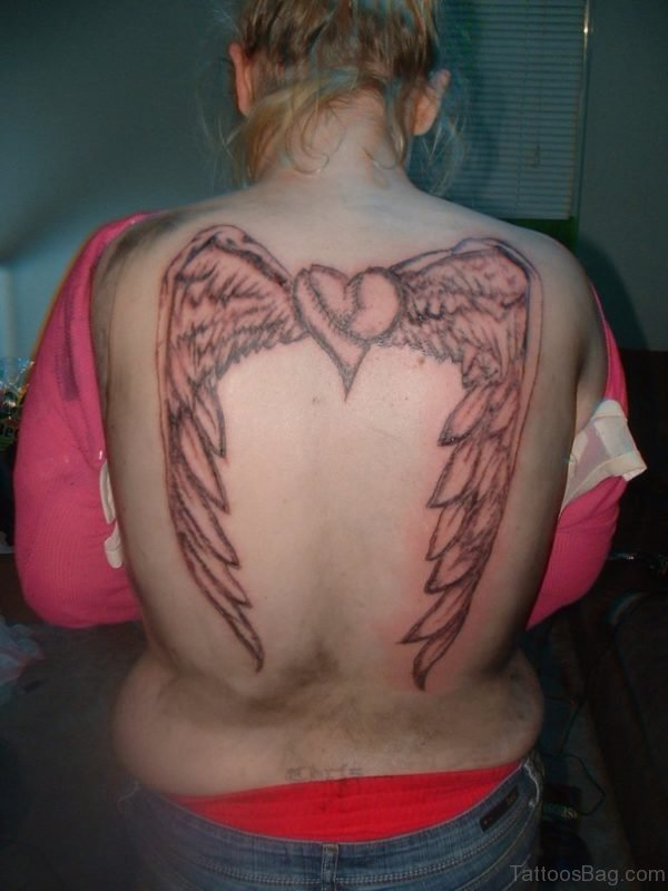 Angel Wings Heart Tattoo On Back