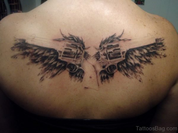 Angel Wings With Guns Tattoo