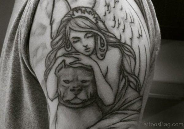 Angel With Dog Tattoo