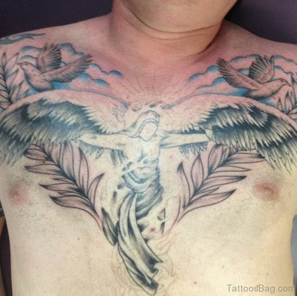 Angel With Wings Chest Tattoo