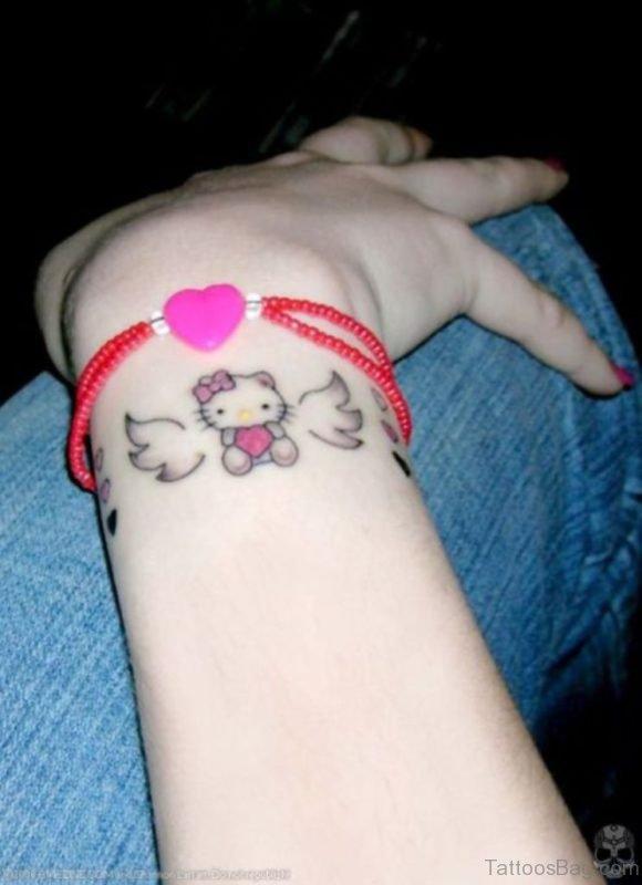 Angel kitty Wrist Tattoo