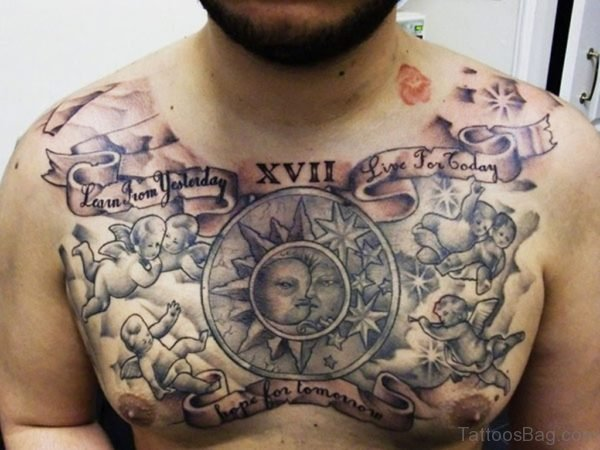 Angels And Demon Tattoos On Chest