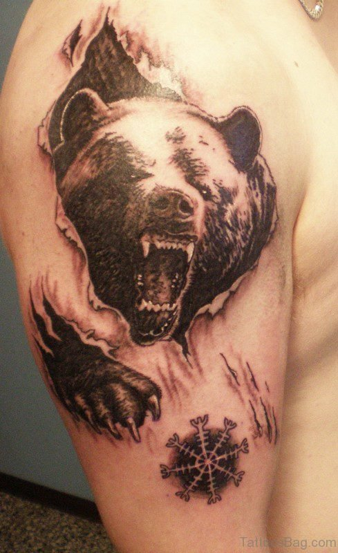 Angry Bear Rip Skin Tattoo