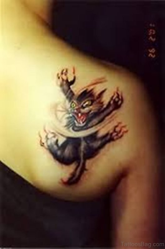 Angry Cat Back Tattoo