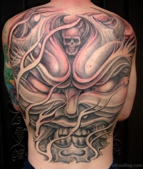 Angry Skull Tattoo On Back