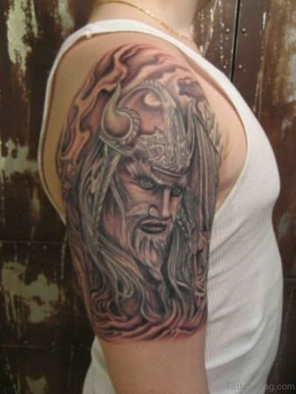 Angry Viking Tribal Shoulder Tattoo