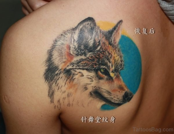 Angry Wolf And Moon Tattoo