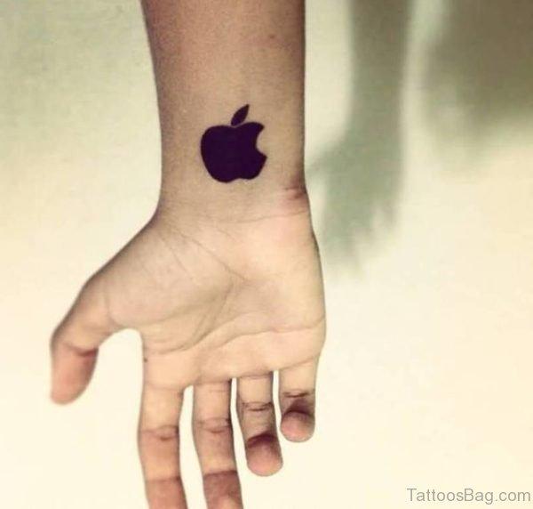 Apple Logo Tattoo On Wrist