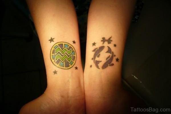Aquarius Pisces Tattoo Design On Wrists