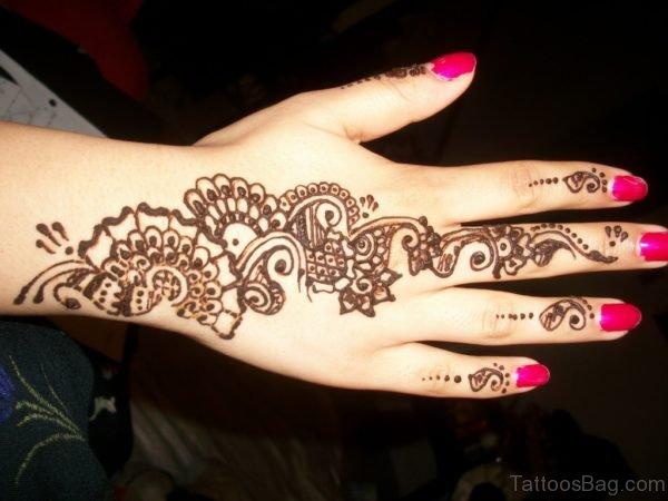 Arabic Henna Tattoo On Hand
